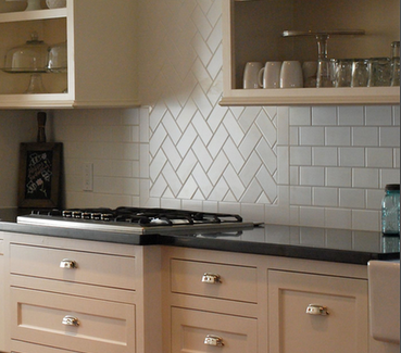 Subway Tile Back Splash Love The Diagonal Section Trendy Kitchen Tile Trendy Kitchen Backsplash Kitchen Tiles Backsplash