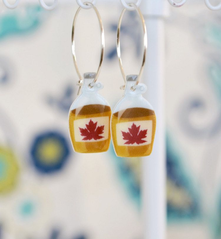 35ff435657e Maple Syrup Earrings Canadian Pride jewelry by PaperPatternSilk