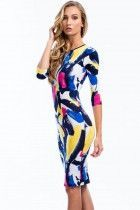 Colorful Graffiti Print Sleeved Bodycon Dress