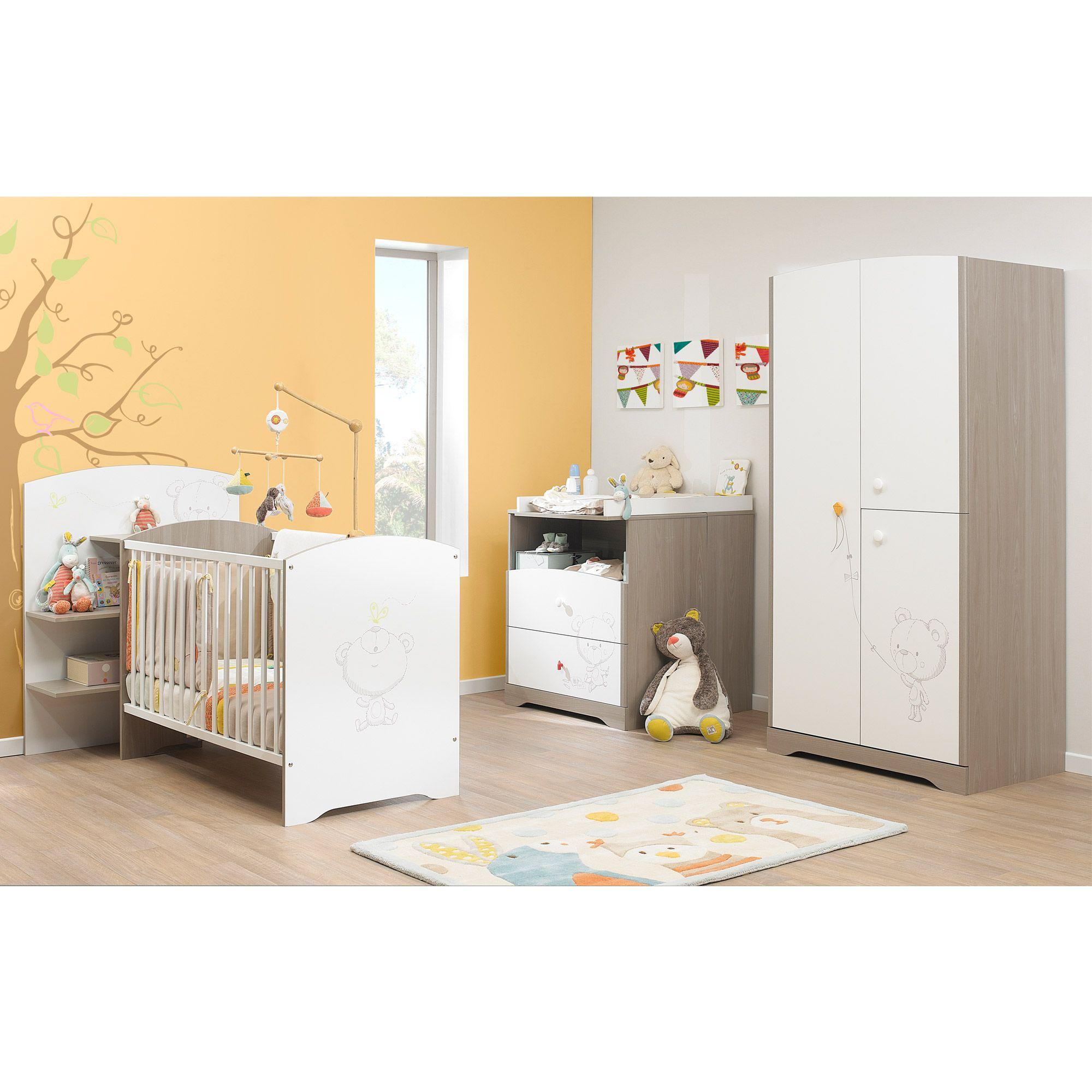 Chambre bébé contemporaine blanche marron clair Ted