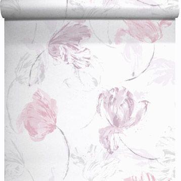Papier Peint Vinyle Sur Intiss Tulipe Rose Larg 0 53 M