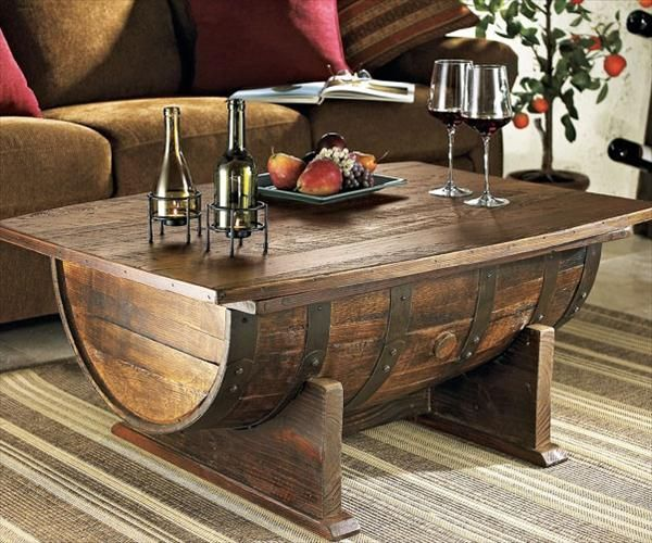 Creative Wooden Barrel Coffee #Table - 7 DIY Old Rustic Wood Furniture  Projects | DIY
