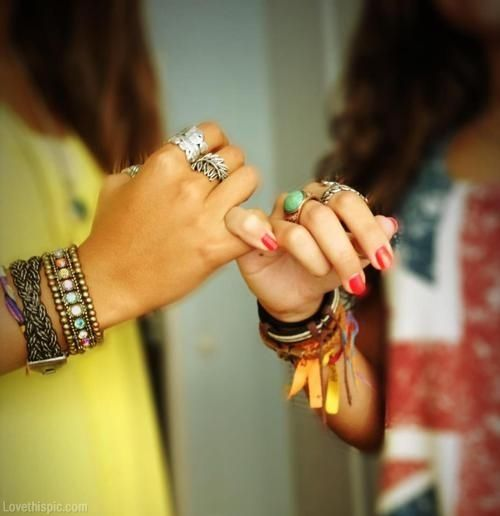 Pinky promise fashion nails jewelry bracelets girls rings