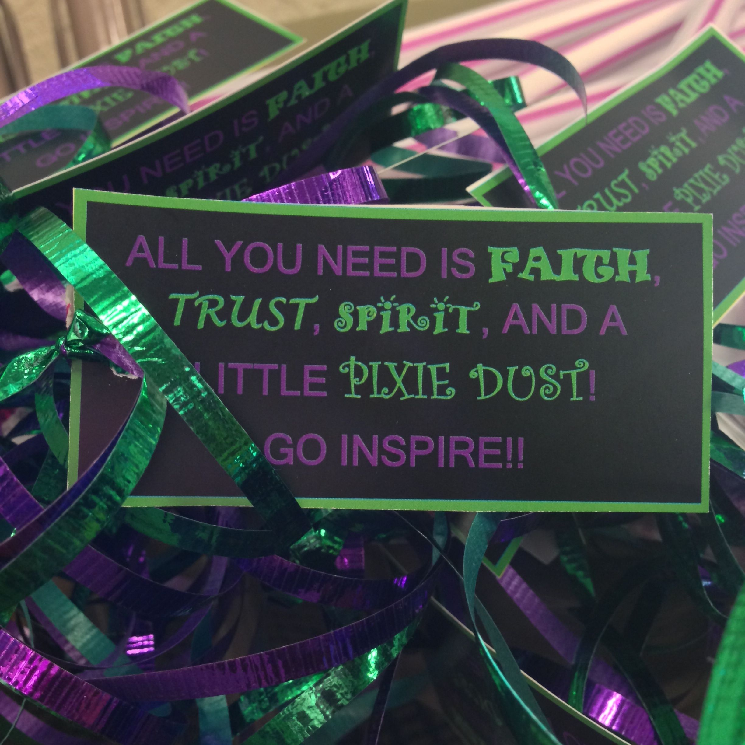 """Post practice snack: Large Pixie sticks with tags that read """"All you need is Faith, Trust, Spirit and a little Pixie Dust"""""""