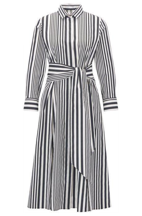 Hemdblusenkleid aus Baumwoll-Popeline mit Streifen (mit ...