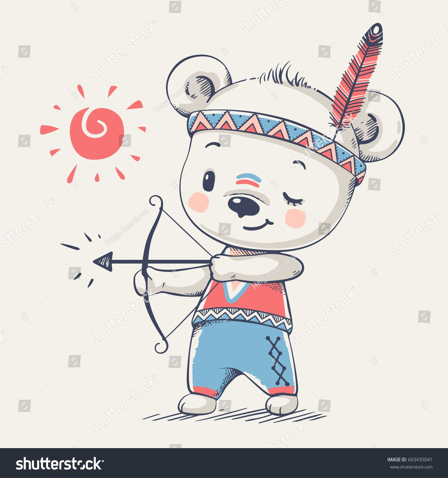 Cute Bear Indian With Bow And Arrow Cartoon Hand Drawn Vector Helicopter Flight Diagram Greeting Cards Zazzle Can Be Used For Baby T Shirt Print Fashion Design Kids Wear Shower Celebration Invitation Card