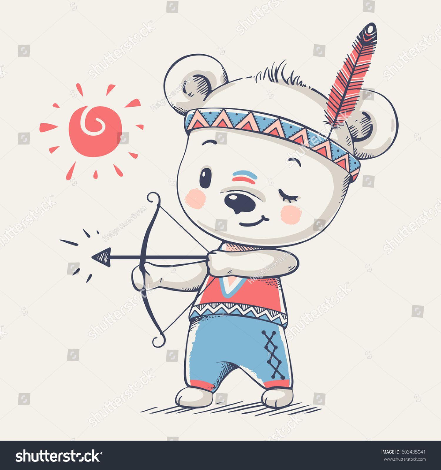 3d9022a1c320 Cute bear Indian with bow and arrow cartoon hand drawn vector ...