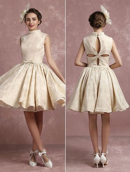 Champagne Wedding Dress Vintage High Collar Bridal Gown Short