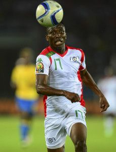 Jonathan Zongo of Burkina Faso during the 2015 Africa Cup of Nations football match between Burkina Faso v Gabon at Bata Stadium in Bata, Equatorial Guinea on 17 January 2015 ©Barry Aldworth/BackpagePix