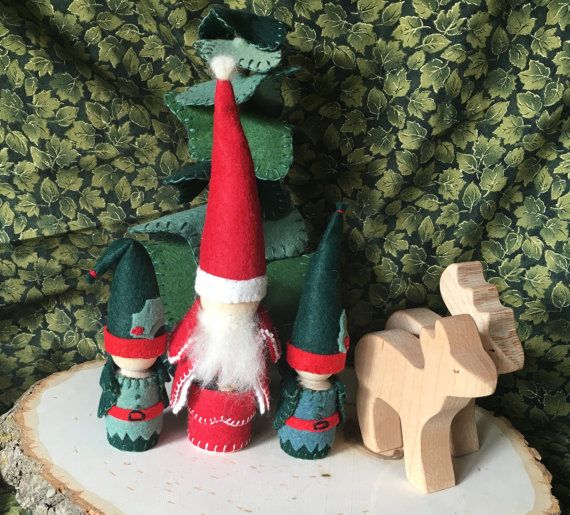 Santa And His Elves Peg Gnomes For Waldorf Nature Table And Play