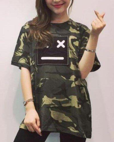 f8e2bdec849 Emoji Embroidered t shirt dress for girls camo t shirts short sleeve ...