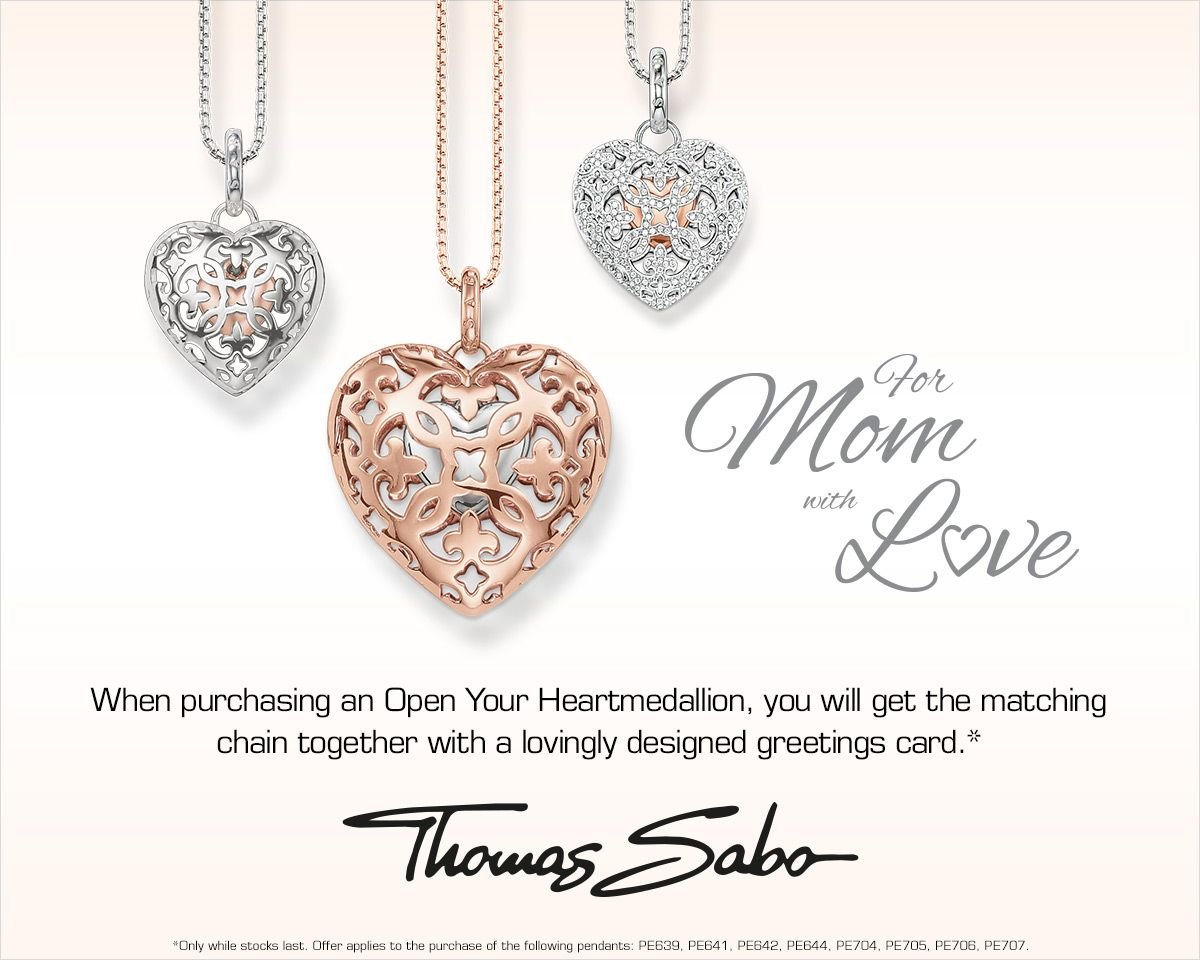 Mothers Day is just around the corner, we have made finding right gift easy. When you purchase the Open Your Heart Medallion from Thomas Sabo, you will also receive the matching chain and a lovingly designed greeting card. http://www.bocianjewellers.ca/