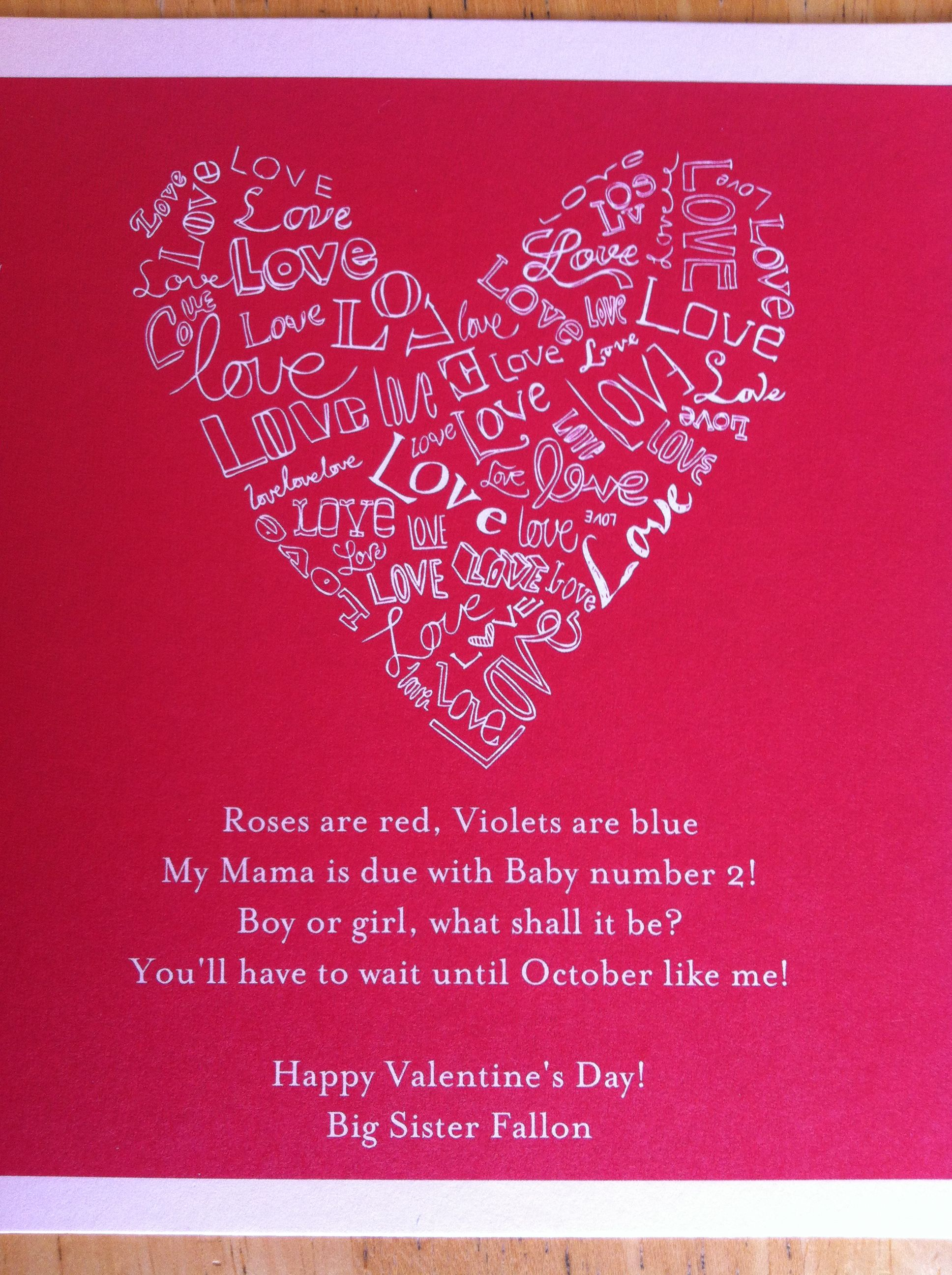 Valentine S Day Pregnancy Announcement Used Similar Poem To
