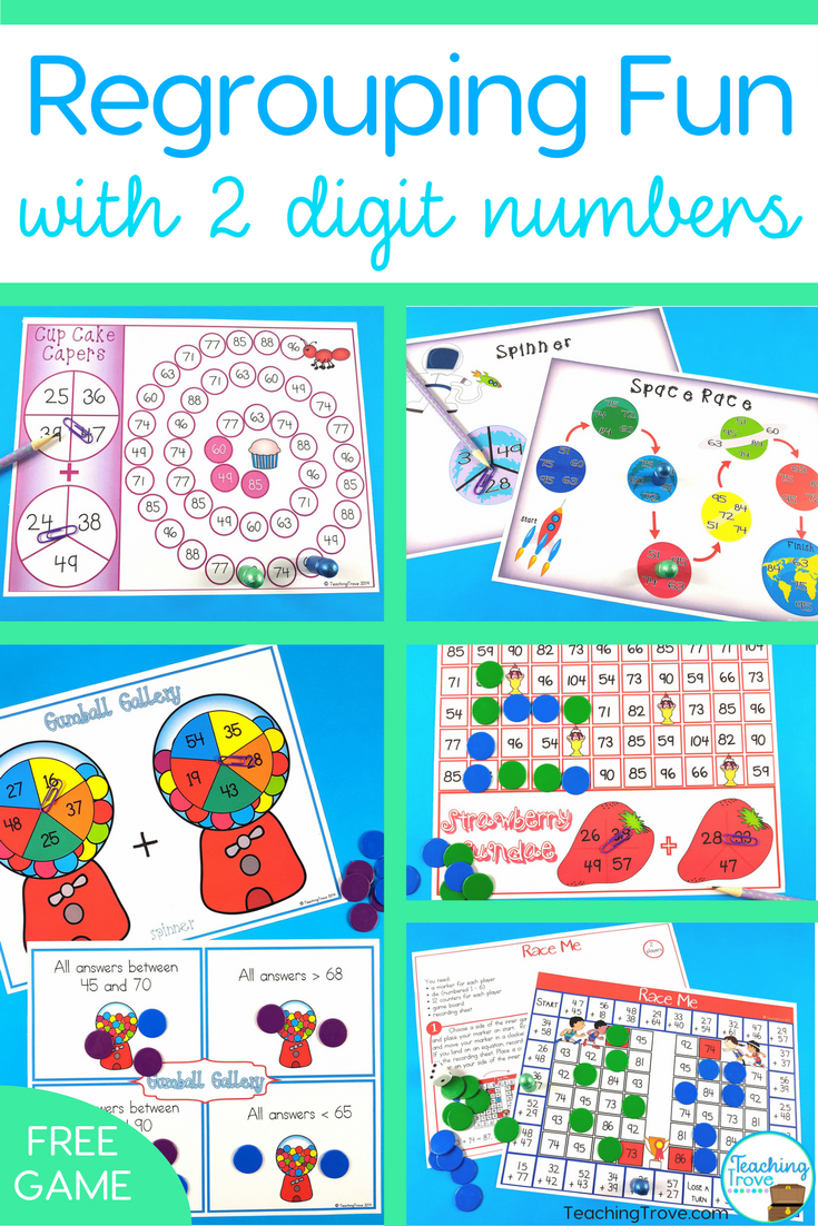 Regrouping Fun with Two Digit Numbers   Math, Elementary math and ...
