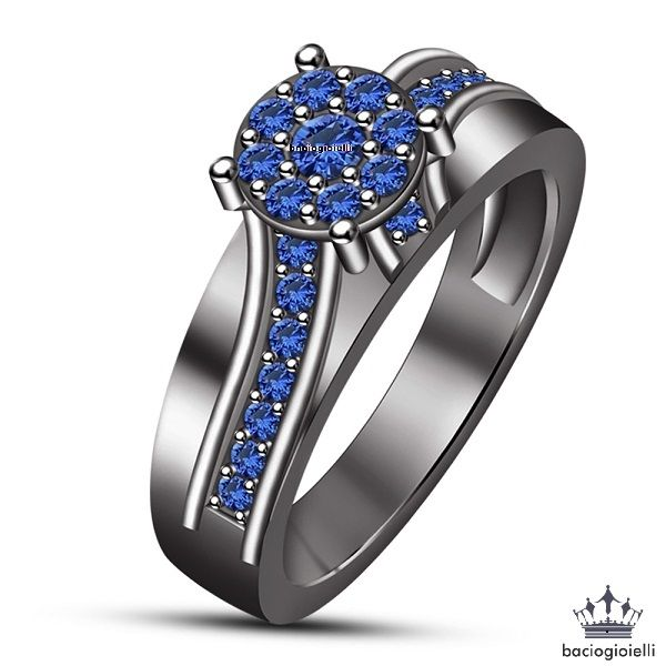 GP Women Platinum Plated 925 Sterling Silver Blue Sapphire and Diamond Cluster Ring Size R fIDsj4fzY8