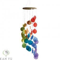 Feng Shui Spirale muschel windspiel spirale regenbogenfarben ca 60 cm mobile und