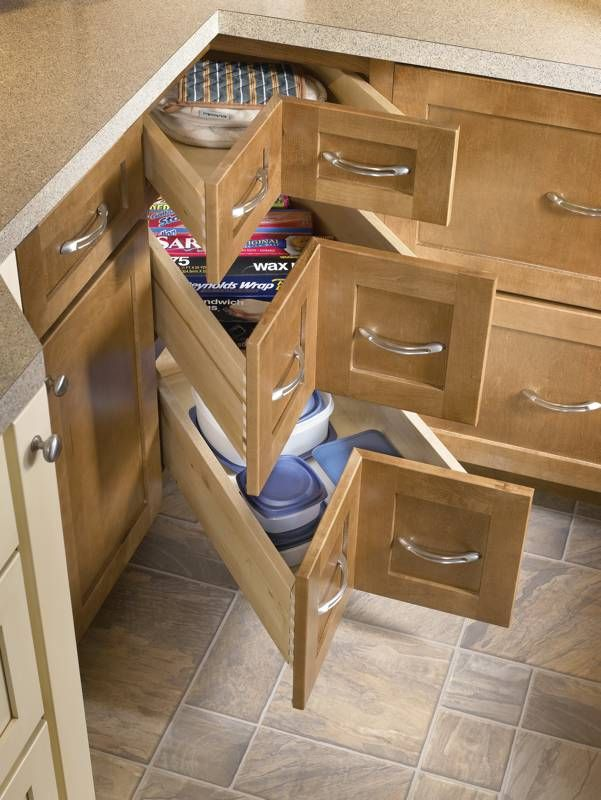 Corner Drawers In The Lazy Susan To The Right Of The Sink