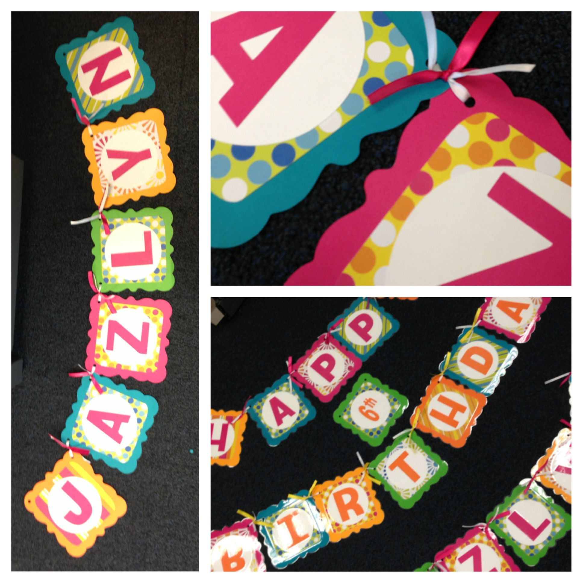 DIY birthday banner using Cricut machine and in the end