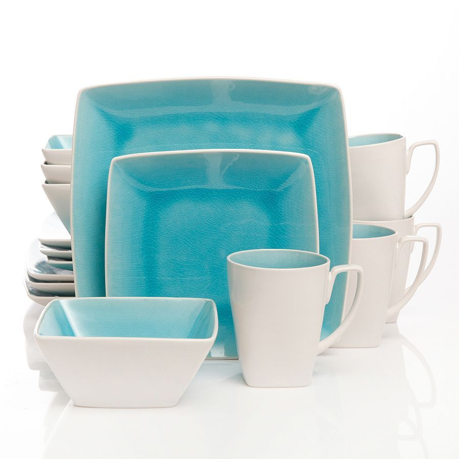 crisp white set against a cool blue hue gives this gibson elite urban luxe square dinnerware set a unique modern look - Modern Dinnerware