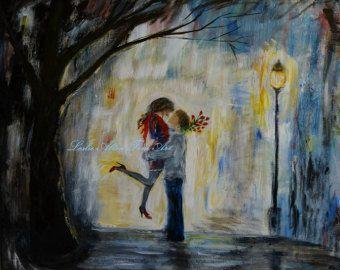 Couple Art Boyfriend Gift Girlfriend Gift Romantic Print by nidhi