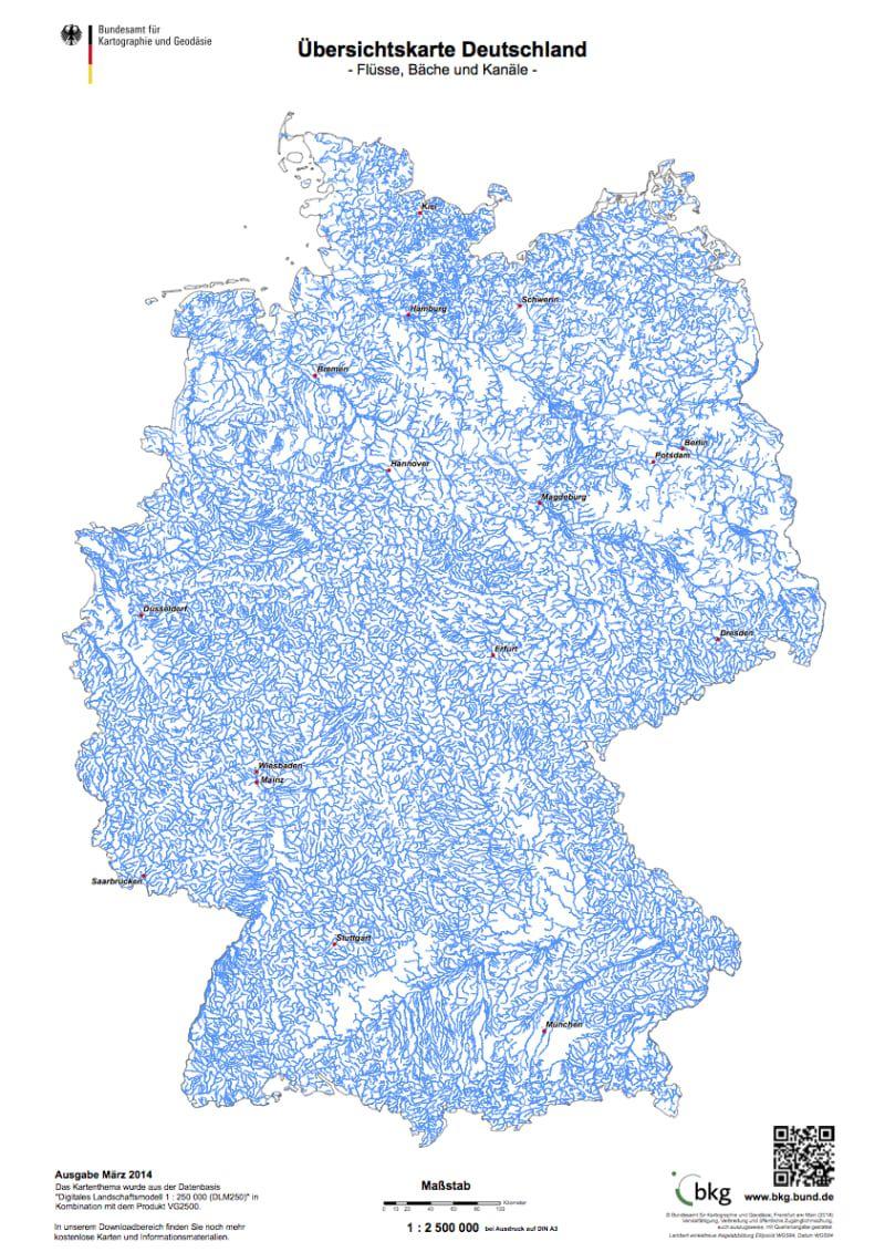 kanäle in deutschland karte Das sind alle Flüsse, Bäche und Kanäle in Deutschland: | Landkarte