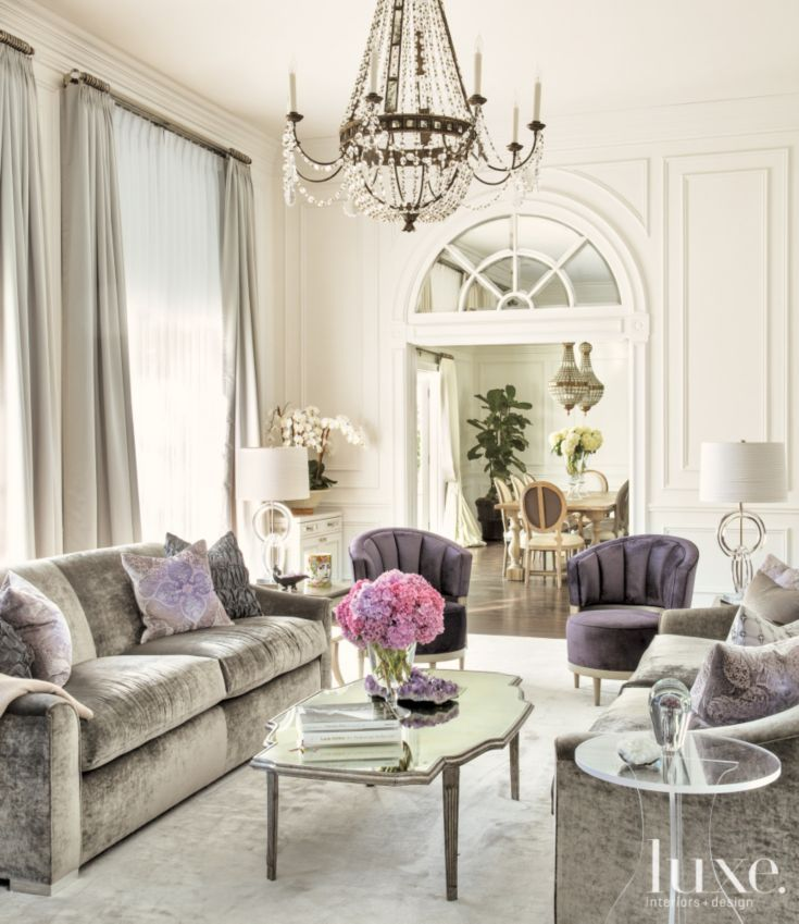 White Transitional Living Room With Purple Accents Luxe Living Room Popular Living Room Interior #purple #living #room #accents