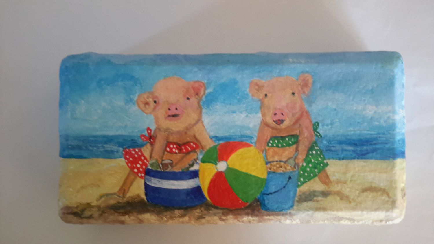 Painted Paver Craft, Pig Art, Pigs On The Beach Painting, Painted Brick Doorstop, Painting On Brick, Collectible Pig, Pig Lovers, Pig Gift by ArtistTooStudios on Etsy