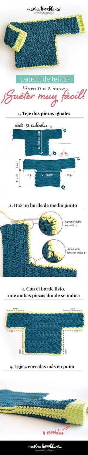 Patron gratis de tejido, sueter para bebe muy facil a crochet - Blog ...