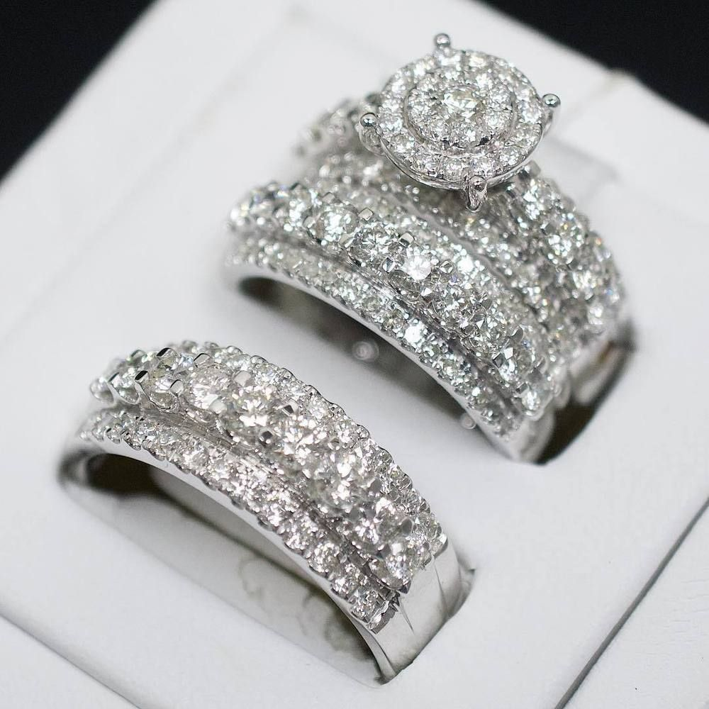 Diamond Trio Set His Her Matching Engagement Wedding Ring 10k White Gold Fn 3 Ct 10k Beautiful In 2020 Coole Trauringe Vintage Trauringe Einzigartige Trauringe