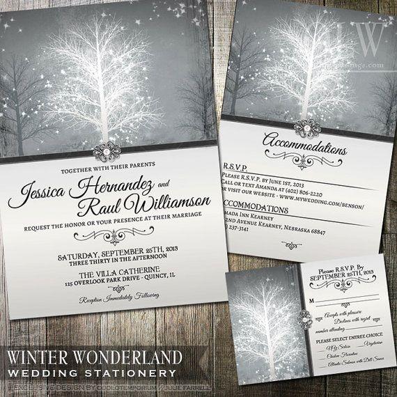 Winter Wonderland Wedding Invitation RSVP Insert Card and