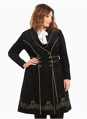 "<div>Trust us, we're the style doctor! This black corduroy Doctor Who trench coat is embellished with gold piping and spoke-embossed buttons along the front. Traveling through time and space, gold embroidery along the hem is inspired by our fave mode of transportation - the TARDIS.</div><div><br></div><div><b>Model is 5'9.5"", size 1 </b></div><div><ul><li style=""LIST-STYLE-POSITION: outside !important; LIST-STYLE-TYPE: disc !important"">Size 1 measures 45 1/2"" from shoulder</..."
