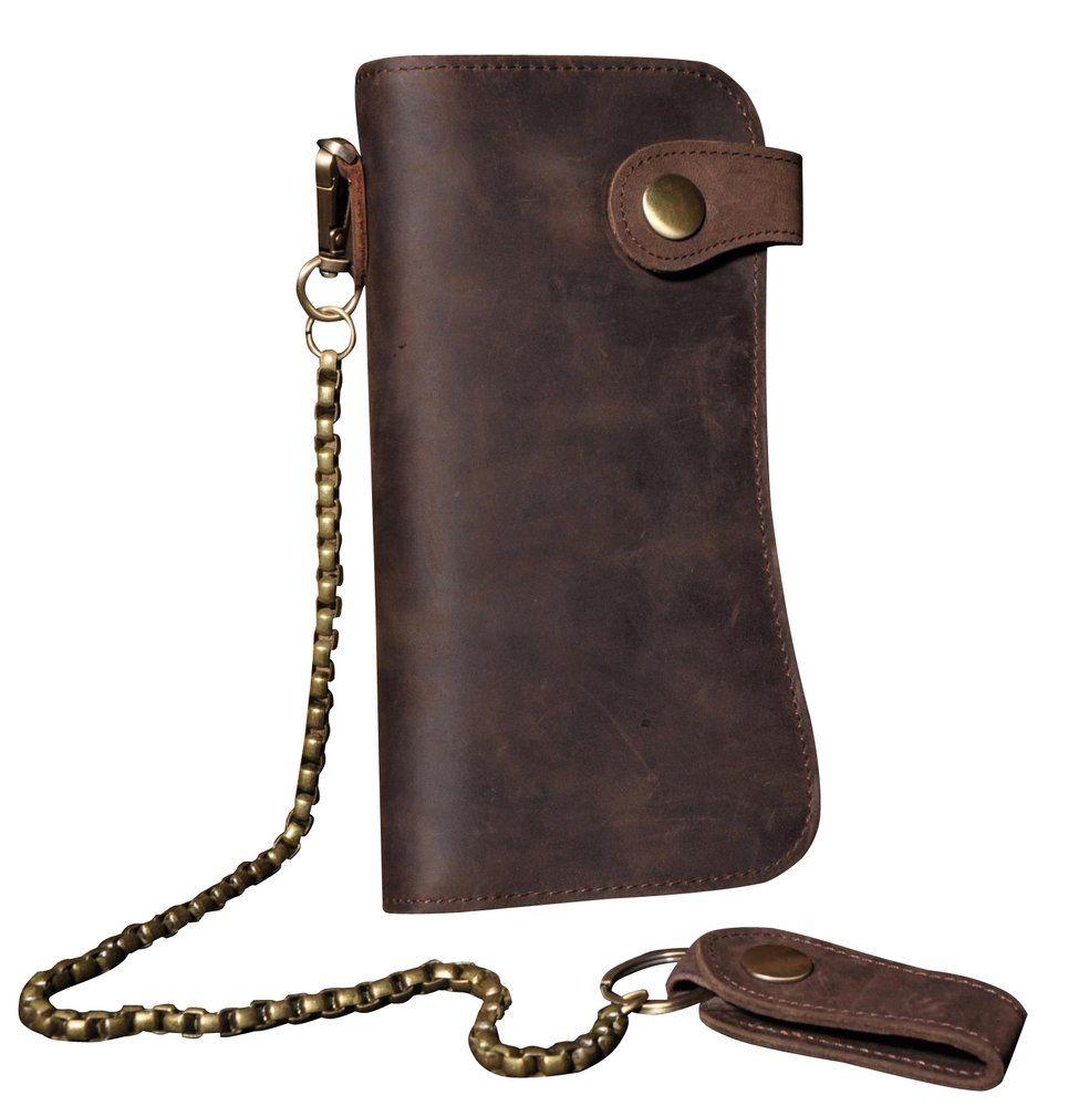 Retro Men/'s Leather Card Holder Chain Biker Trucker Wallet Checkbook Billfold