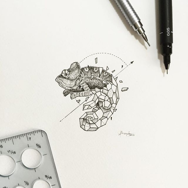 Chameleon Tattoo Designs Drawings: »Kerby Rosanes«
