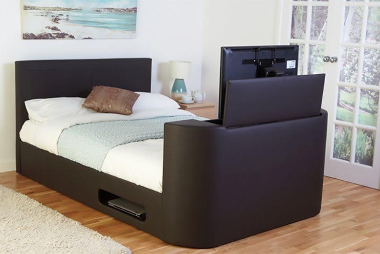 luxury faux leather tv bed beds super king size side rails south shore londen dresser