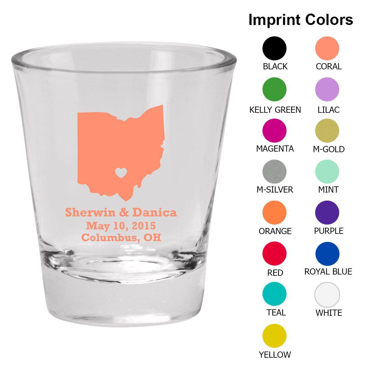 Wedding Shot Glasses (Clipart 1001) State of Ohio - Wedding Favors ...