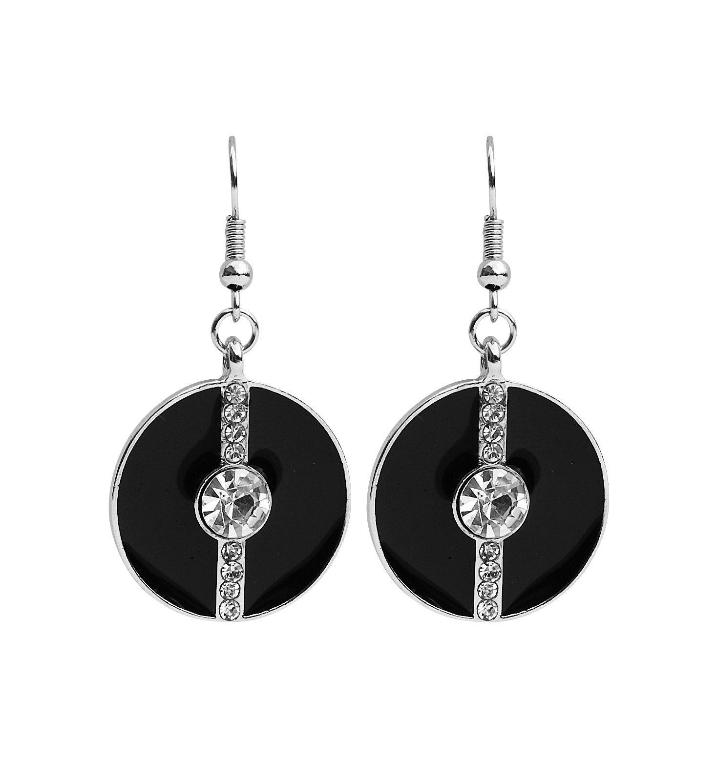 SILVER AND BLACK ENAMEL AND CRYSTAL DROP EARRING
