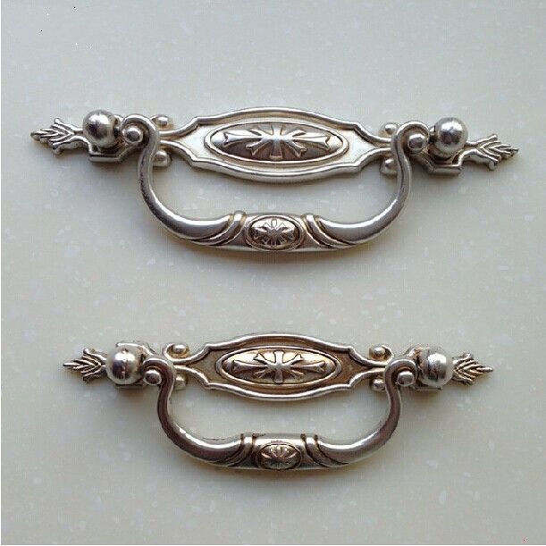96mm shaky vinatge handles 3 antique silver drawer cabinet