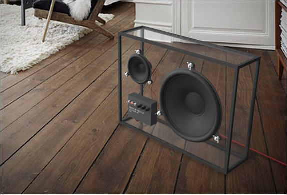 Swedish design company People People created a very original speaker, the transparent design lets it blend in to any living room.