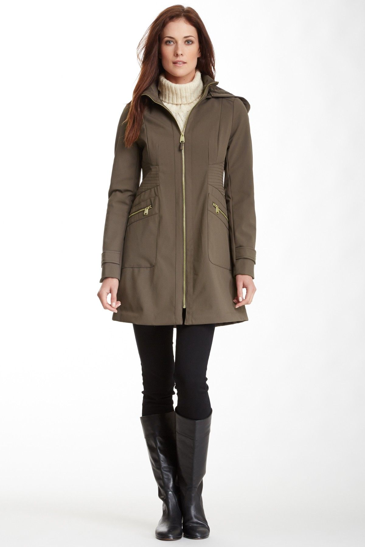 Hooded Faux Leather Trim Soft Shell Coat on HauteLook