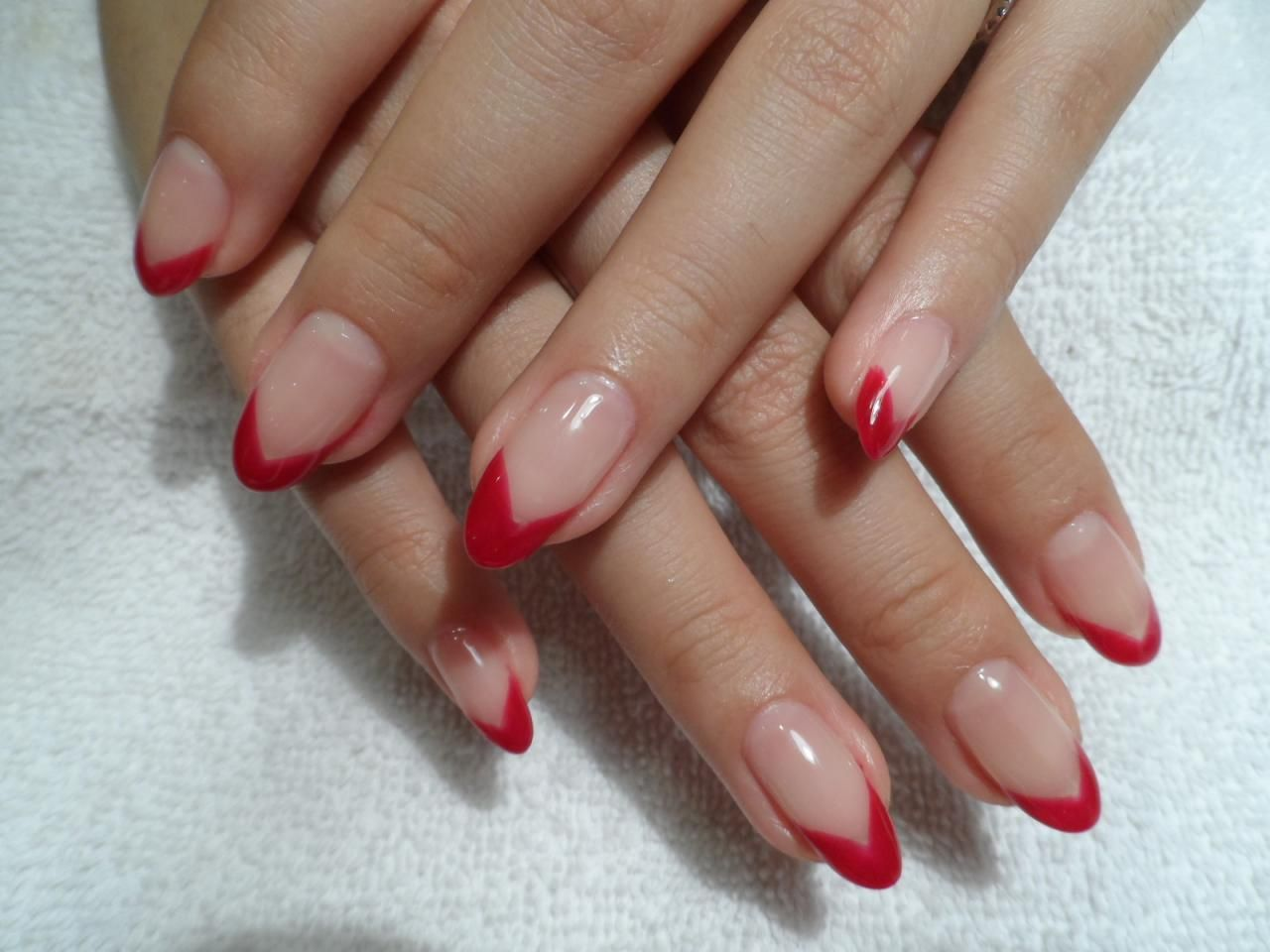 gel extension red -tip nails