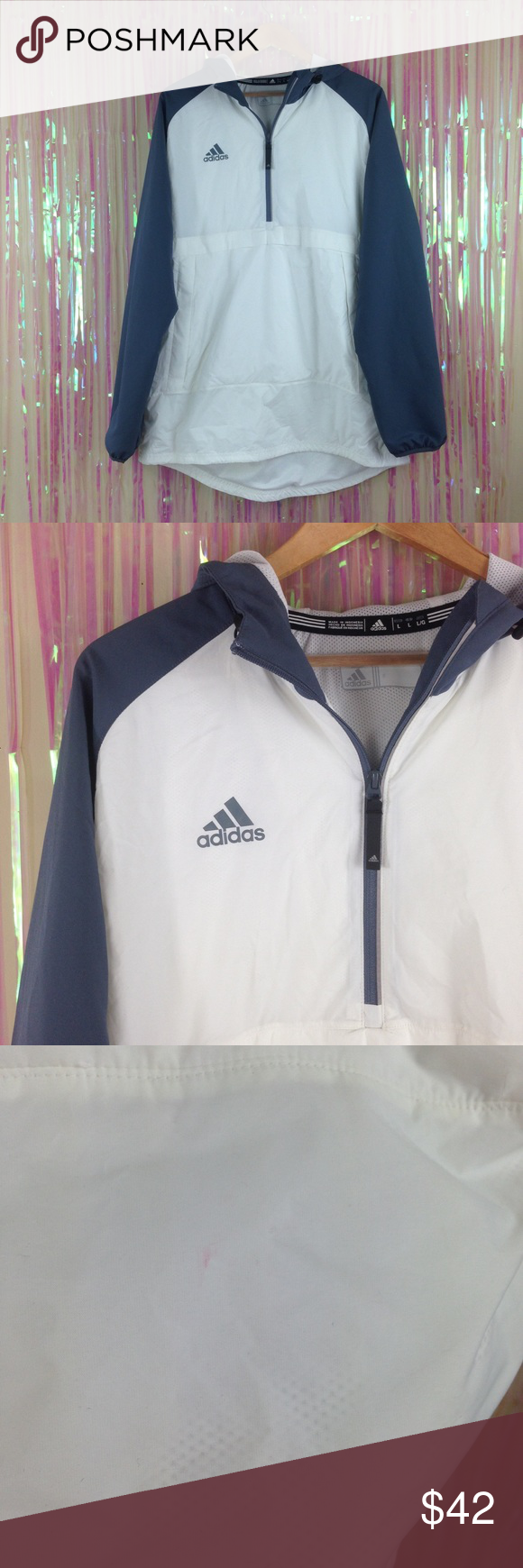 Adidas windbreaker jacket nylon mens womens T139 Adidas gray white windbreaker  jacket nylon coat mens womens