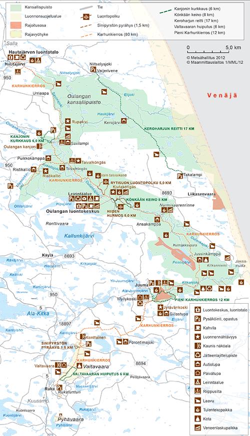 Karhunkierroksen kartta © Metsähallitus 2012