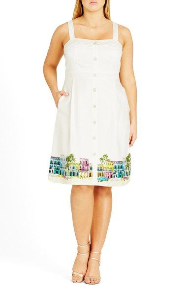 City Chic 'Main Street' Border Print Sundress (Plus Size) available at #Nordstrom
