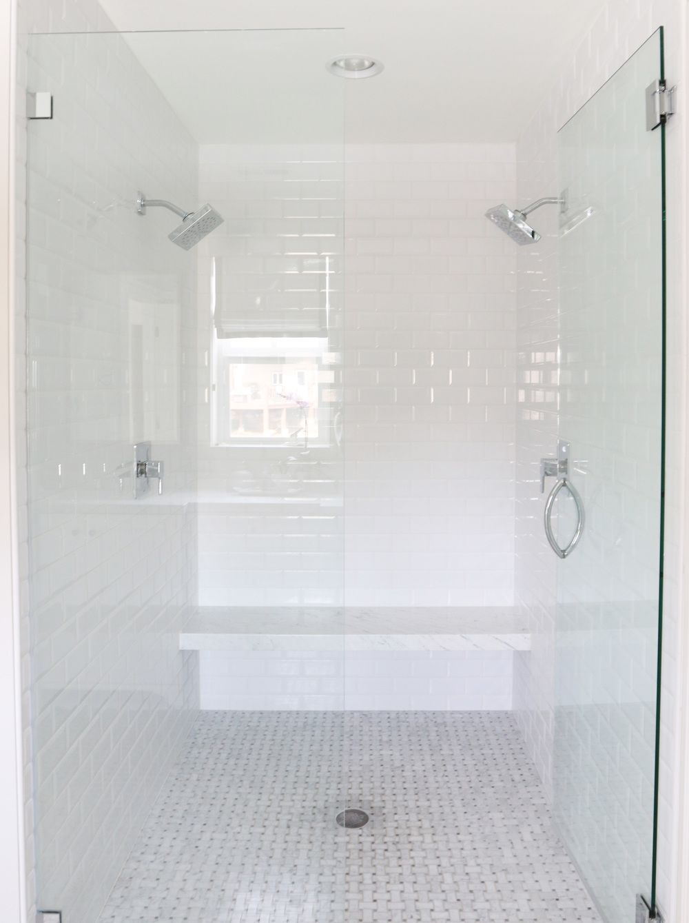 The Midway House Master Bathroom White Subway Tile