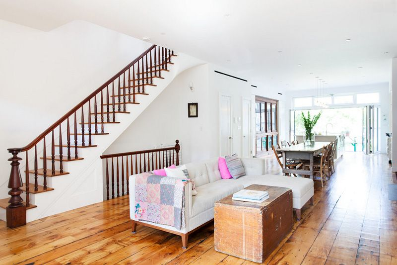 A Brooklyn Row House Desire To Inspire Desiretoinspire Net Narrow Living Room Transitional Living Rooms Living Room Remodel Open concept row house