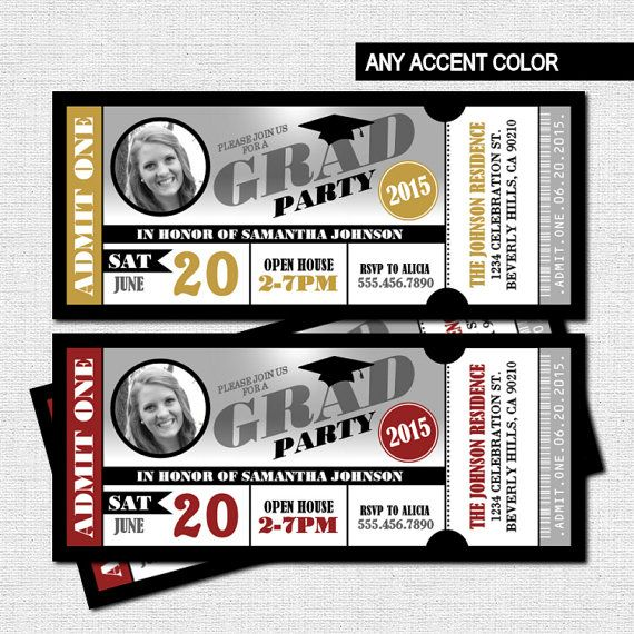 GRADUATION (GRAD) PARTY TICKET INVITATIONS - Any accent color - party ticket invitations