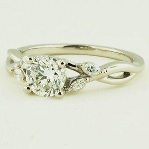 Platinum Willow Diamond Ring - Set with a 1.01 Carat, Round, Very Good Cut, H Color, VS2 Clarity Diamond #BrilliantEarth