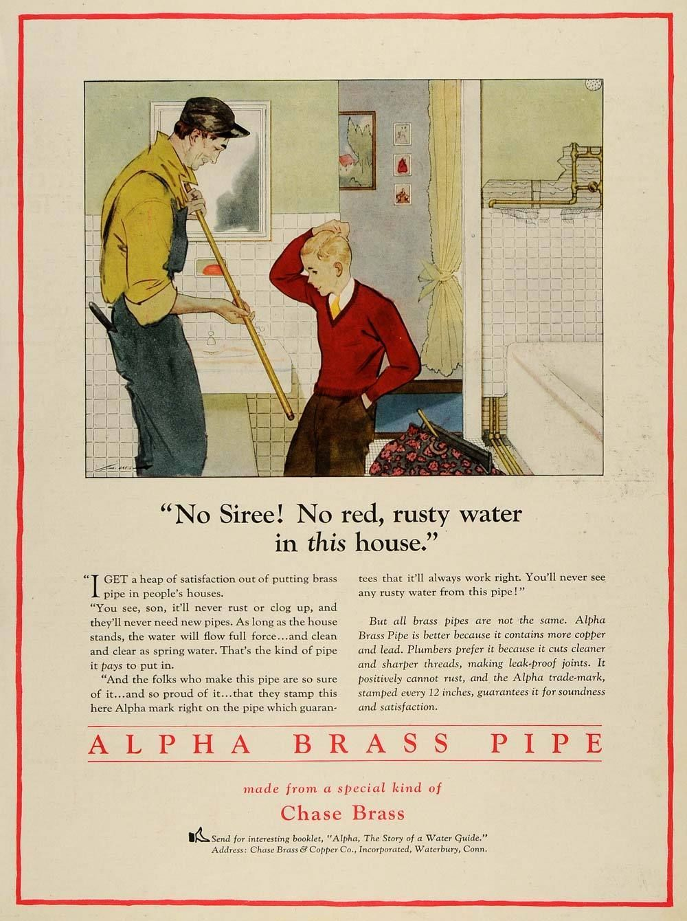 1928 Ad Alpha Brass Pipe Chase Brass Copper Co Plumbing Waterbury ...