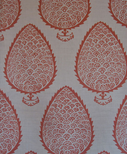 Katie Ridder's Leaf in Ginger Hand printed linen, Fabric