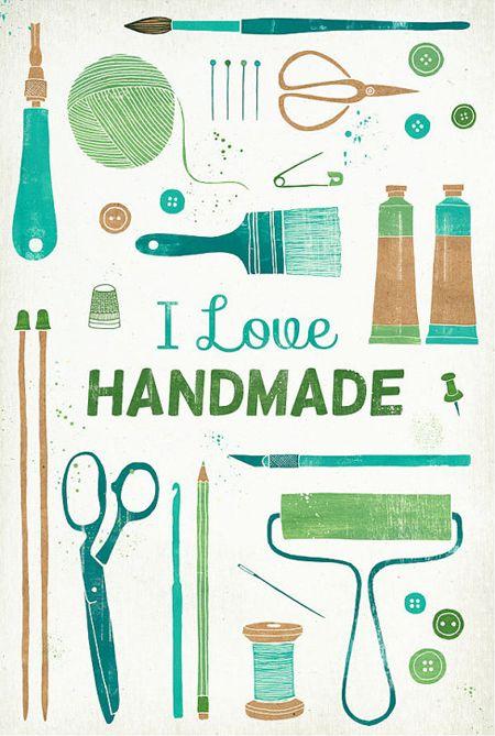 """I love the color palette of this print! """"I Love  Handmade"""" by  Leen De Pelseneer on Etsy"""